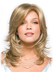 Soft Capless Medium Wavy Blonde Top Remy Hair Wig