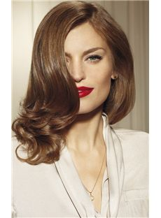 Soft Full Lace Medium Wavy Brown Hair Wig