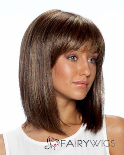 Soft Medium Straight Brown 16 Inch Human Hair Wigs