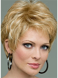 Special Cool Full Lace Short Wavy Blonde Top Quality Human Hair Wig
