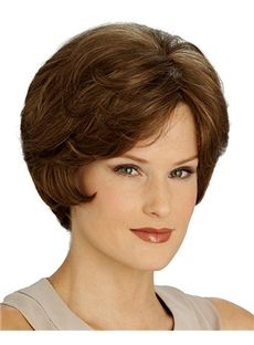 Special Cool Full Lace Short Wavy Brown Remy Hair Wig
