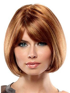 Special Cool Short Straight Brown 12 Inch Human Hair Wigs
