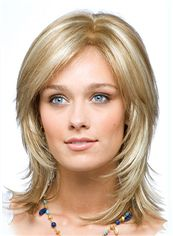Stunning Full Lace Medium Straight Blonde Remy Hair Wig