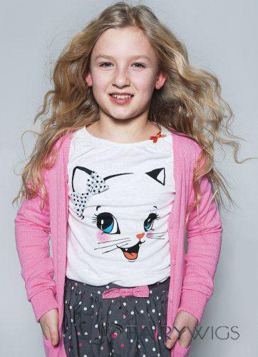 Stylish Medium Blonde 100% Indian Remy Hair Kids Wigs