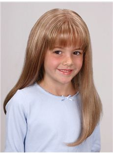 Stylish Medium Blonde 100% Indian Remy Hair Kids Wigs 16 Inch