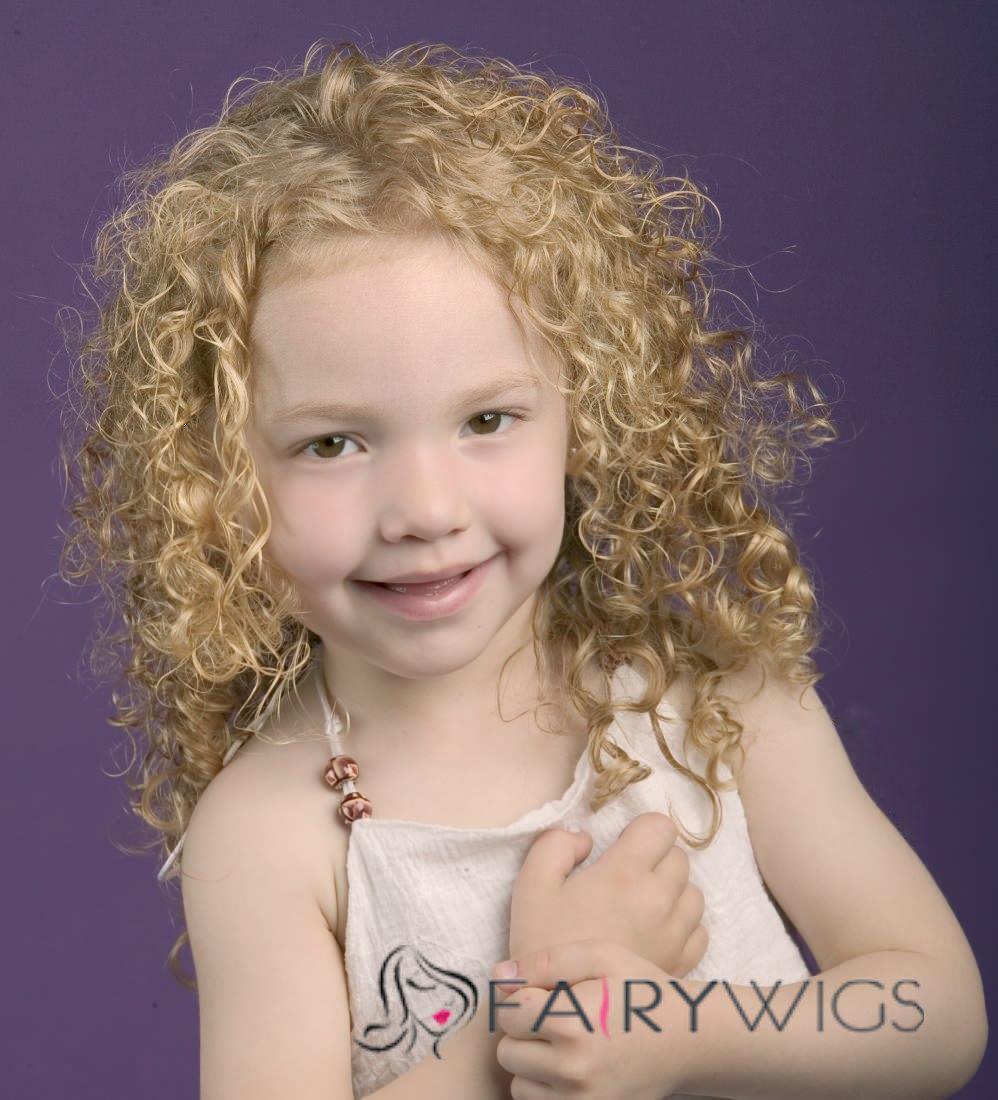 Stylish Medium Blonde 100% Indian Remy Hair Kids Wigs 16 Inch