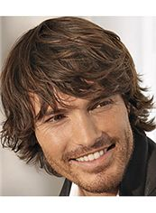 Super Smooth Short Brown 100% Indian Remy Hair Mens Wigs
