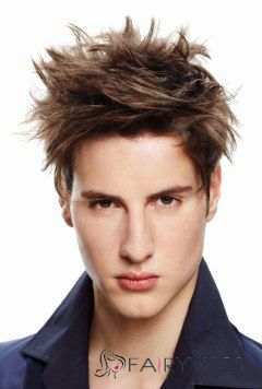 Super Smooth Short Brown Remy Mens Wigs
