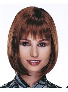 Super Smooth Short Straight Brown 12 Inch Human Hair Wigs