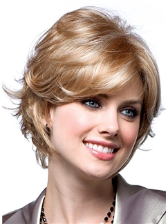 Super Smooth Short Wavy Blonde 10 Inch Remy Hair Wigs