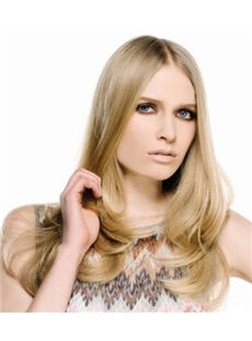 Sweet Full Lace Long Wavy Blonde Remy Hair Wig