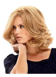 Sweet Full Lace Medium Blonde Wavy Remy Hair Wig