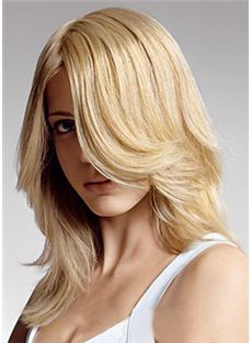 Sweet Full Lace Medium Wavy Blonde Remy Hair Wig
