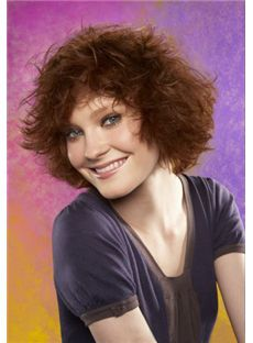 Sweet Full Lace Short Wavy Red Remy Hair Wig