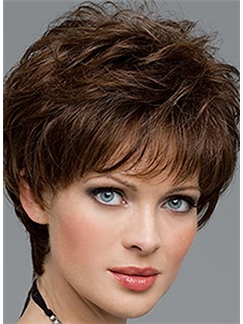 The Fresh Short Wavy Brown 10 Inch Human Hair Wigs