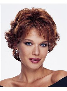 Top Quality Capless Short Wavy Brown Remy Hair Wig