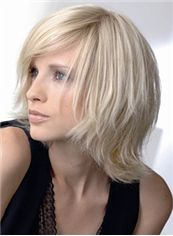 Trendy Capless Short Wavy Blonde Remy Hair Wig