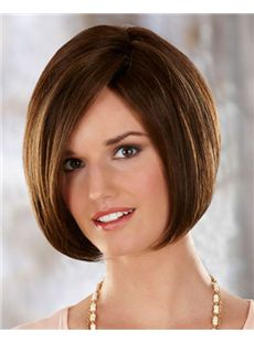 Vogue Wig Capless Short Straight Brown Remy Hair Wig