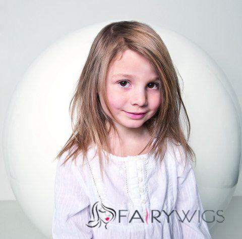 Wholesale Medium Blonde 100% Indian Remy Hair Kids Wigs 14 Inch