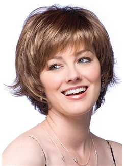 Wig Online Short Wavy Brown Human Hair Wigs