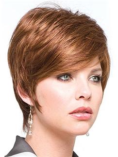 Wig Online Short Straight Brown 10 Inch Human Hair Wigs