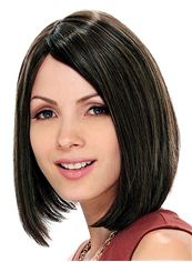 Wonderful Lace Front Short Straight Black Remy Hair Wig