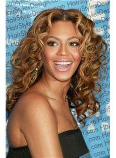 Full Lace Medium Wavy Golden Brown Beyonce Knowles' Human Hair Wig