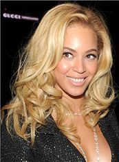 Beyonce Knowles' Wigs Full Lace Medium Wavy Blonde 100% Human Hair