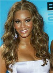Chic Beyonce Knowles' Full Lace Medium Wavy Sepia Remy Wig