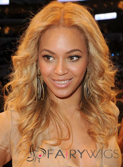 Full Lace Medium Wavy Blonde Beyonce Knowles Wigs 100 Human Hair