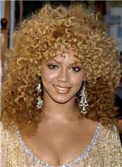 Beyonce Knowles' Wigs Capless Medium Curly Mixed Color Human Hair