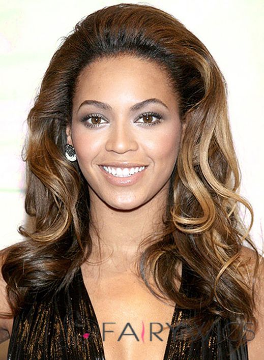 Gorgeous Full Lace Medium Wavy Mixed Color Beyonce Knowles Real Hair Wigs