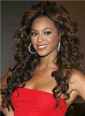 Sexy Beyonce Knowles' Lace Front Wigs Medium Wavy Brown