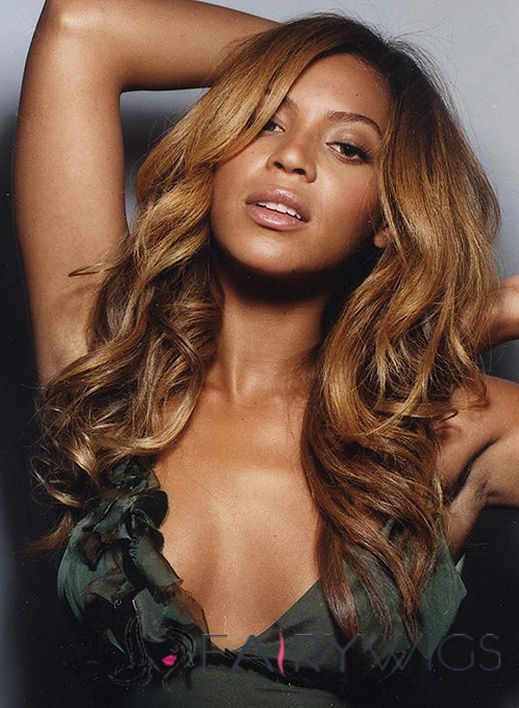 Beyonce Knowles Lace Front Medium Wavy Golden Brown Virgin