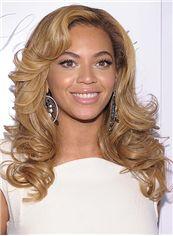 Stylish Full Lace Medium Wavy Blonde Beyonce 100% Human Hair Wig