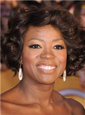 Admirable Viola Davis Hairstyle Short Wavy Full Lace 100% Human Hair Wigs for Black Women