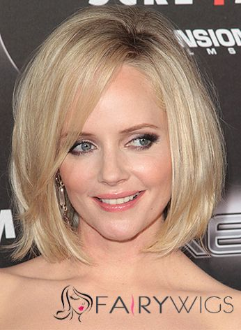 Marley Shelton Hairstyle Short Straight Full Lace Human Hair Bob Wigs