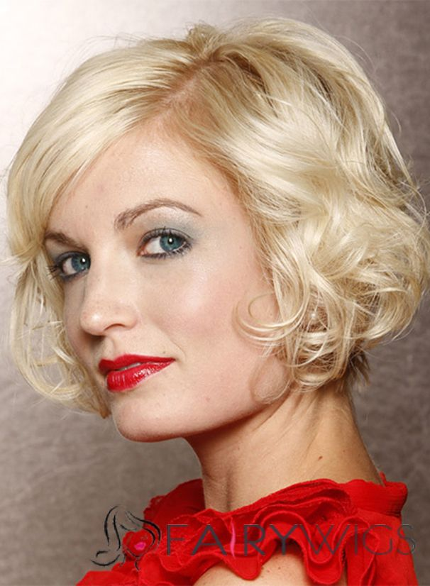 Boutique Short Wavy Full Lace 100% Indian Remy Hair Bob Wigs
