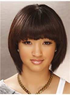 Cheapest Short Straight Capless Indian Remy Hair Bob Wigs