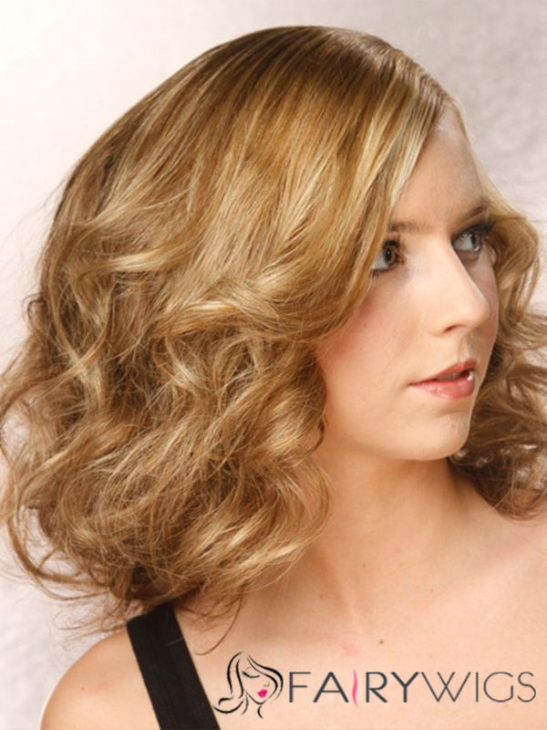 Comely Medium Wavy Full Lace 100% Indian Remy Hair Bob Wigs