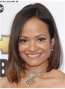 Judy Reyes Hairstyle Medium Straight Full Lace Human Hair Bob Wigs