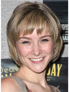 Jill Paice Hairstyle Short Wavy Capless Human Hair Bob Wigs