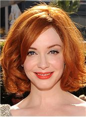 Christina Hendricks Hairstyle Short Wavy Capless Human Hair Bob Wigs