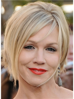 Jennie Garth Hairstyle Short Straight Capless Human Hair Bob Wigs