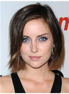 Jessica Stroup Hairstyle Short Straight Full Lace Human Hair Bob Wigs