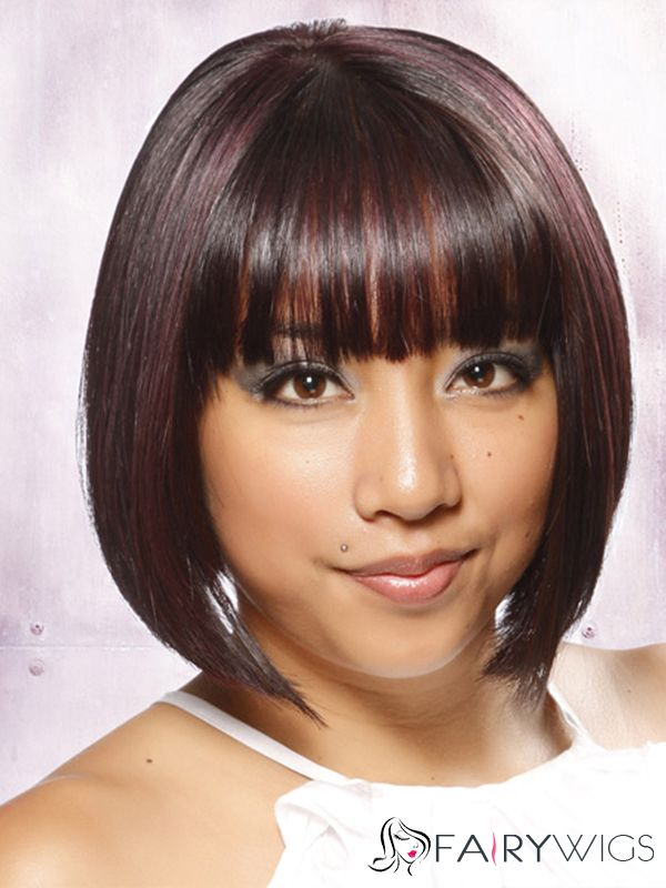 Fluffy Short Straight Capless Indian Remy Hair Bob Wigs