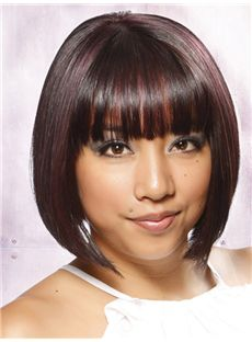 Fluffy Short Straight Capless 100% Indian Remy Hair Bob Wigs