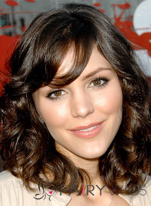 Katharine McPhee Hairstyle Medium Wavy Full Lace Human Hair Bob Wigs