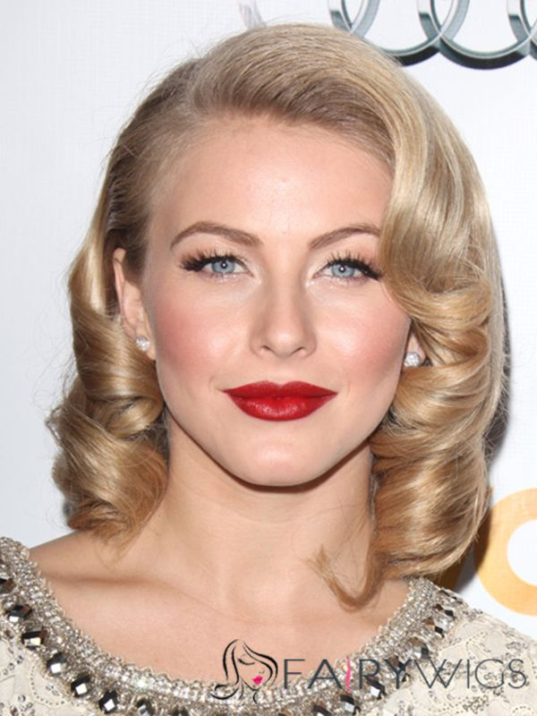 Julianne Hough Hairstyle Short Wavy Full Lace Human Hair Bob Wigs ...