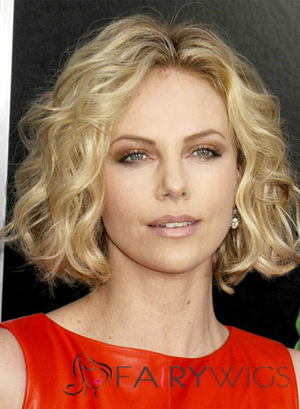 Miraculous Charlize Theron Hairstyle Short Wavy Full Lace Human Hair Bob Wigs Hairstyles For Men Maxibearus